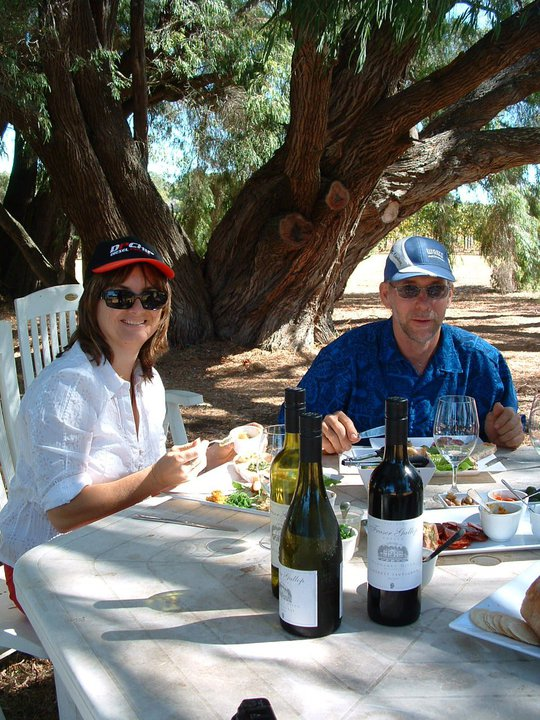 Simon and Joy enjoying lunch at Fraser Gallop, a very nice drop or two with lunch a great experience